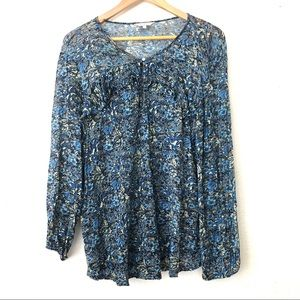 Lucky Brand Blue & White Floral Print Tunic Blouse